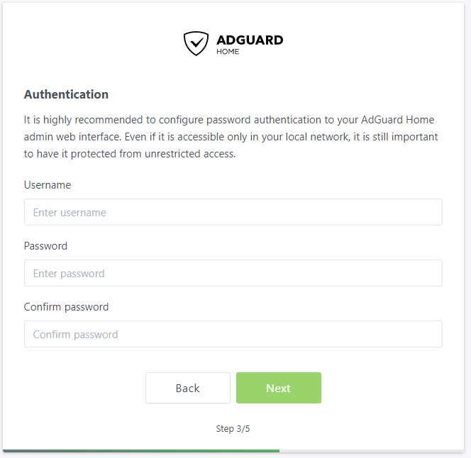 AdGuard Home Authentication Settings