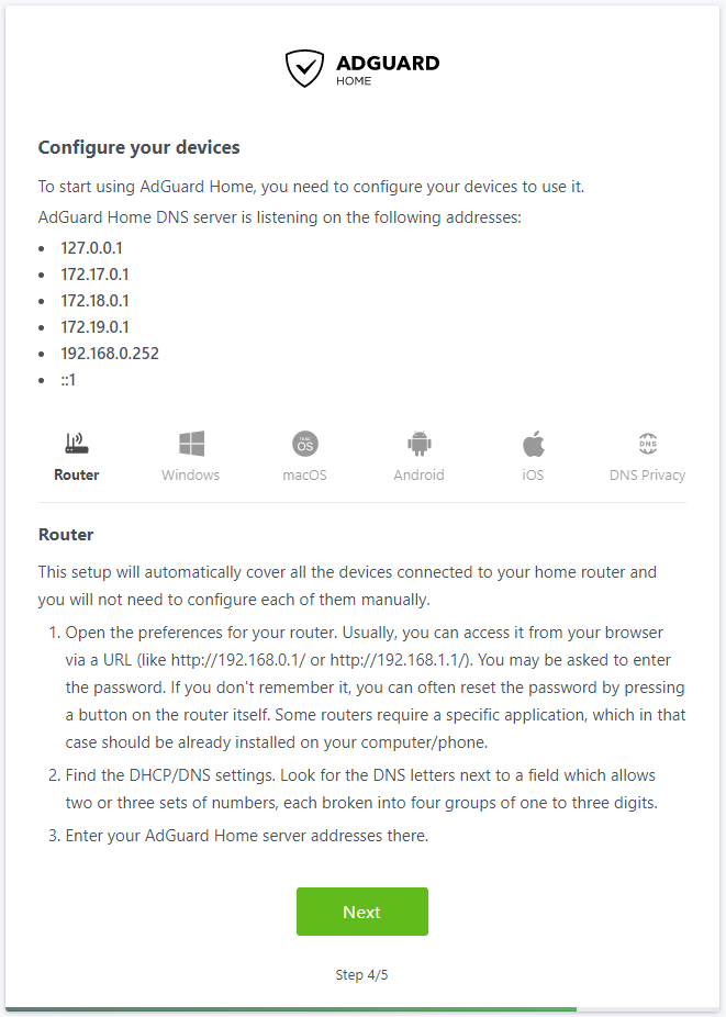 AdGuard Home Device Configuration - https://www.dockeril.net