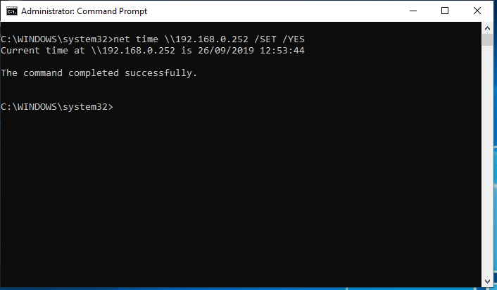 NET TIME \\YourServer /SET /YES - NTP
