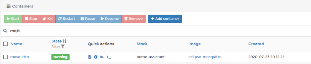 Mosquitto Container - Portainer View - dockeril.net